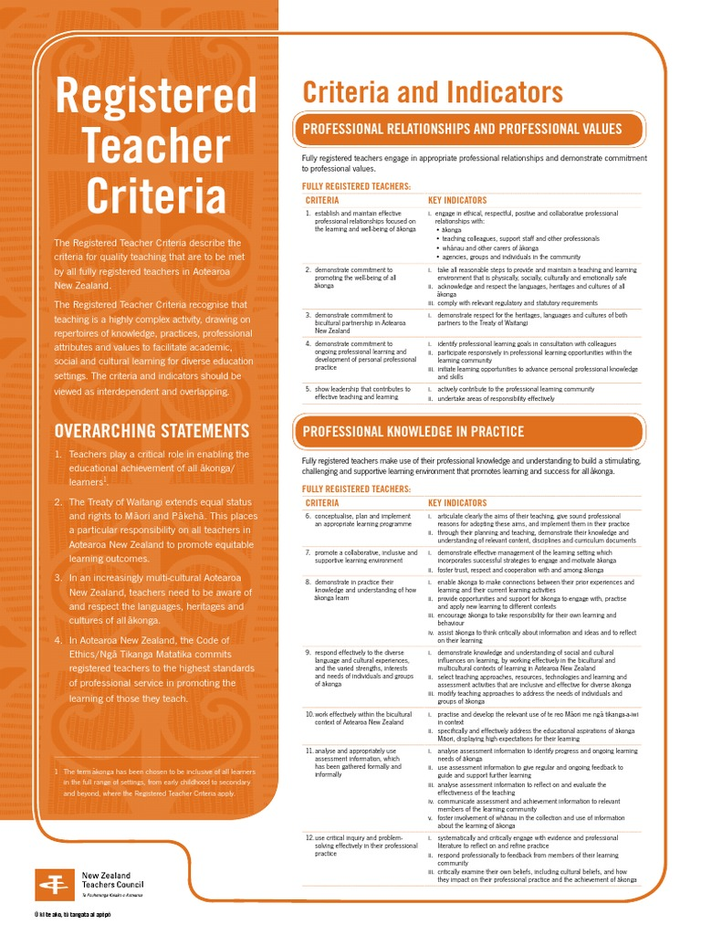 Registered Teacher Criteria Poster English 2010 0 Educational Essment Learning