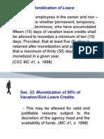 monetization of leave credits