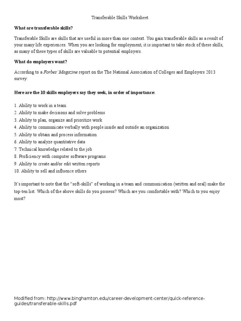 Worksheets Transferable Skills Worksheet transferable skills worksheet 1 communication action philosophy