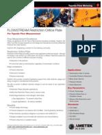 Flowstream Restriction Orifice Plate