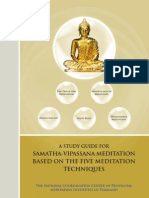 A Study Guide for Samatha-Vipassana Meditation Based on the Five Meditation Techniques