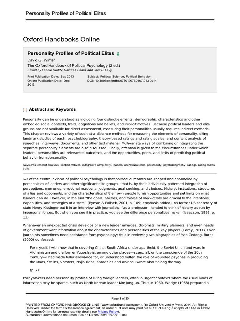 Personality Profiles of Political Elites | Leadership | Leadership &  Mentoring
