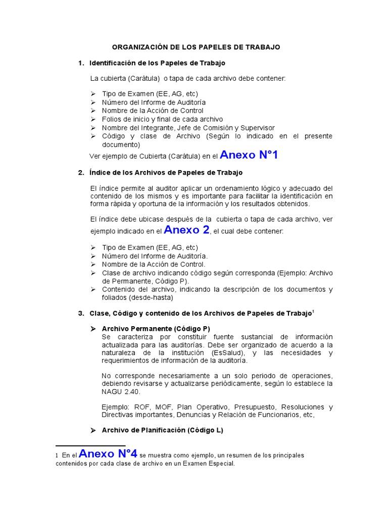 Organización de Los Papeles de Trabajo