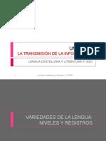 Unidad 8 Variedades de La Lengua Niveles y Registros