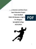 Sport Education for Handball