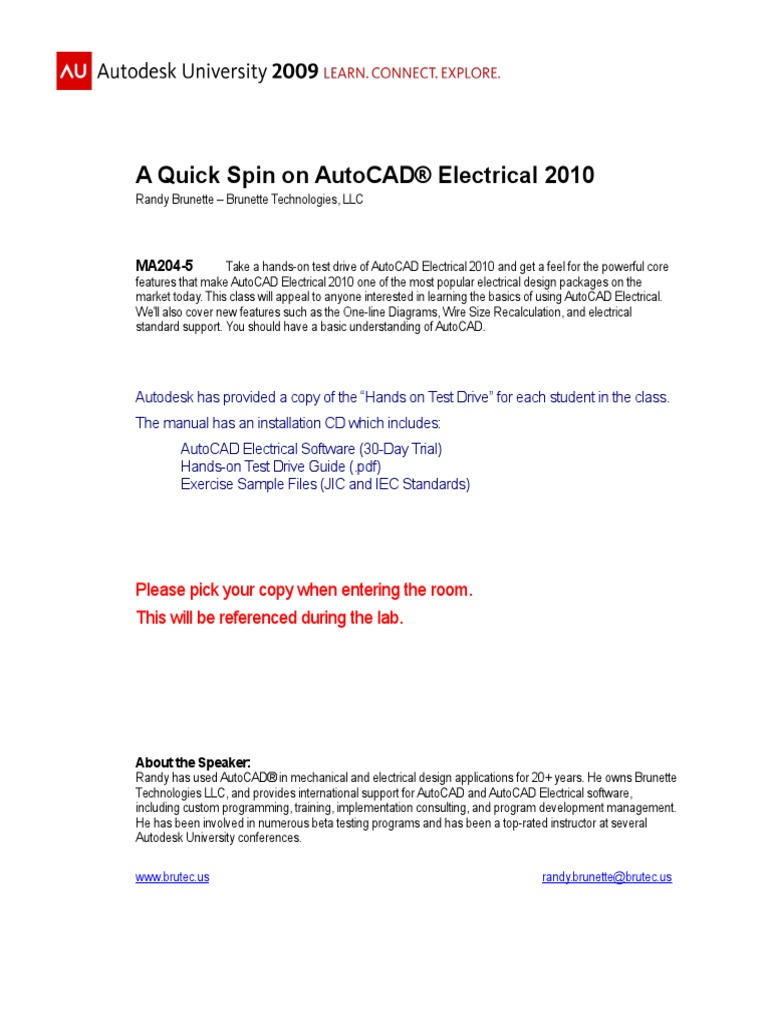 Ma204 5l A Quick Spin On Autocad Electrical 2010 Auto Cad Wiring Diagram Tutorial Electricity
