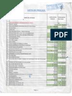 Lista de Precios de Examenes de Laboratorio