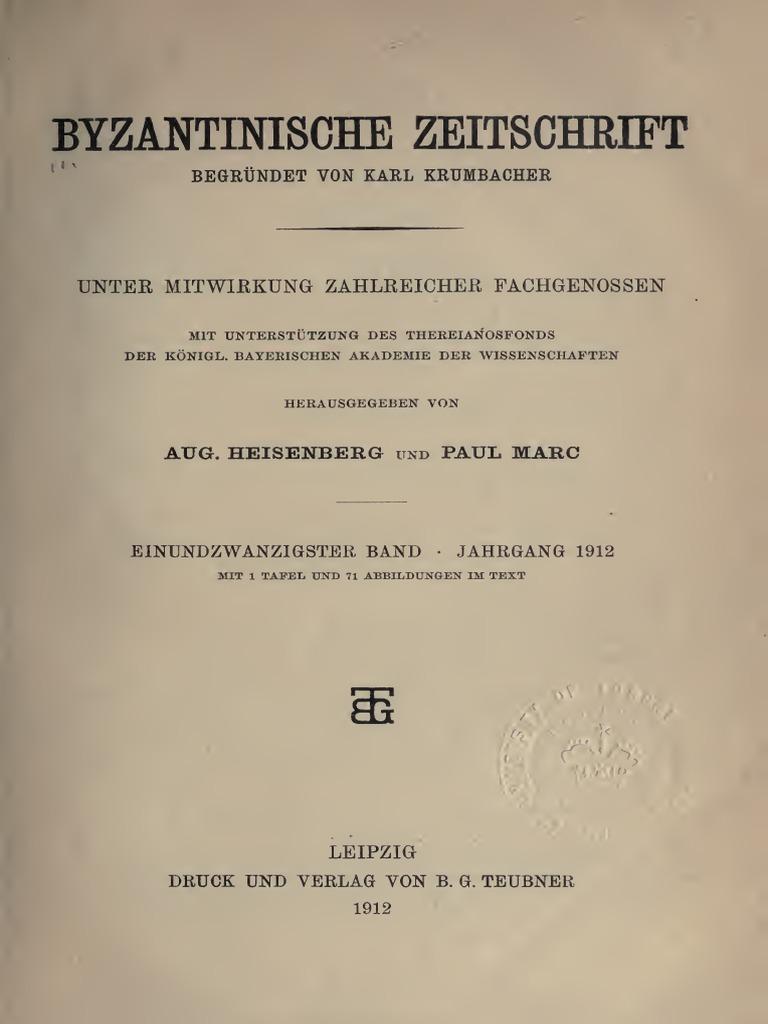 Byzantinische Zeitschrift Jahrgang 21 1912