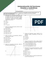Autoevaluación de Funciones Lineales y Cuadráticas 3º ESO