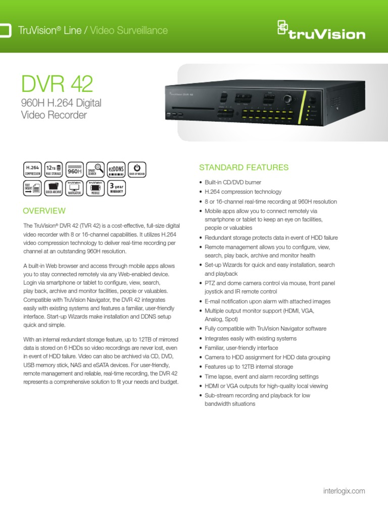 Truvision Dvr 42 | Video | Hdmi