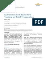 InTech-Markerless Kinect Based Hand Tracking for Robot Teleoperation