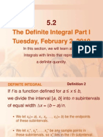 The Definite Integral Part I Tuesday, February