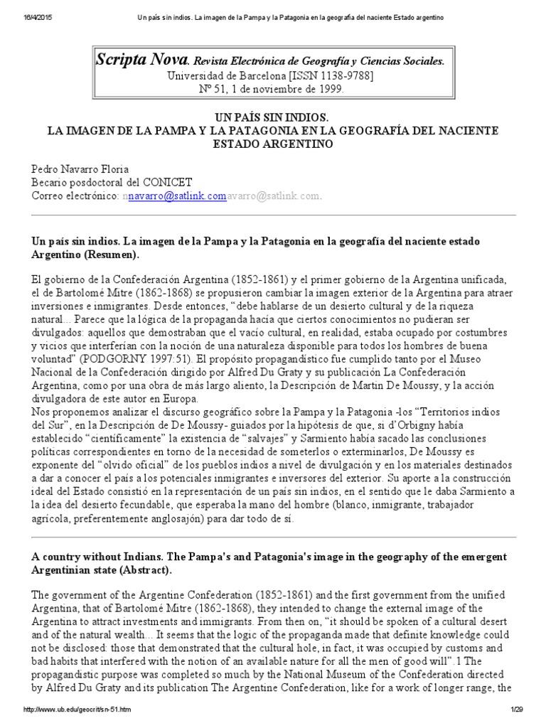 Navarro Floria - Un País Sin Indios La Imagen de Pampa y Patagonia ...