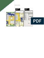 Plano de Distribución de Una Casa Cuyo Terreno Es de 52m2