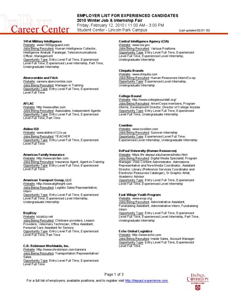 Career center internship websites falaconquin