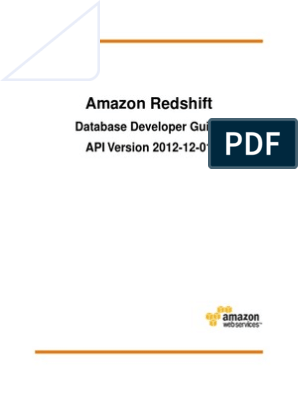 Amazon Redshift Database Developer Guide | Amazon Web Services | Sql