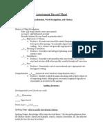 sam b - assessment record sheet