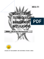 MBCQ 721 Quantitive Techniques for Mangement and Applications -NEW