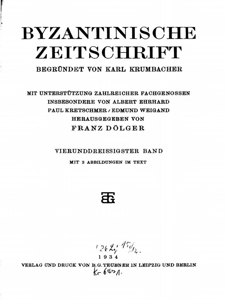 Byzantinische Zeitschrift Jahrgang 34 1934