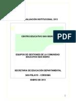 Presentación Del Informe de Autoevaluación Institucional
