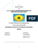 Effectiveness of Training and Development for Employess in Adiya Birla Group