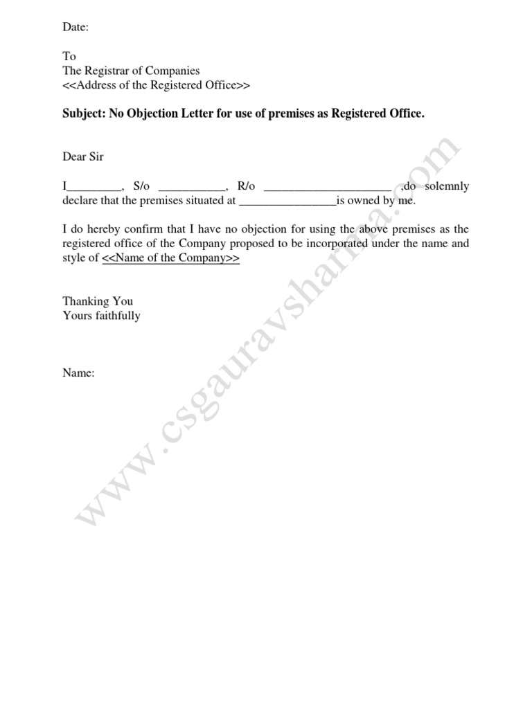 No Objection Letter For Use Of Premises As Registered Office