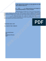 Board Resolution Appointment of Wtd in Meeting Resolution Public Company
