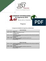Programa Del Primer Congreso Internacional de Ingenierias