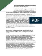 Los Retos de La Ciencia y El Conocimiento en La Venezuela Actual y El Papel Del Ingeniero Frente a Este Desafío Social