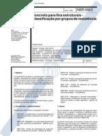 NBR 8953:1992 Concreto para fins estruturais - Classificação por grupos de resistência