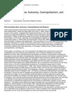 Post-colonialism Now. Autonomy, Cosmopolitanism, and Diaspora
