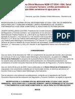 Modificacion a La Norma Oficial Mexicana Nom-127-Ssa1-1994,