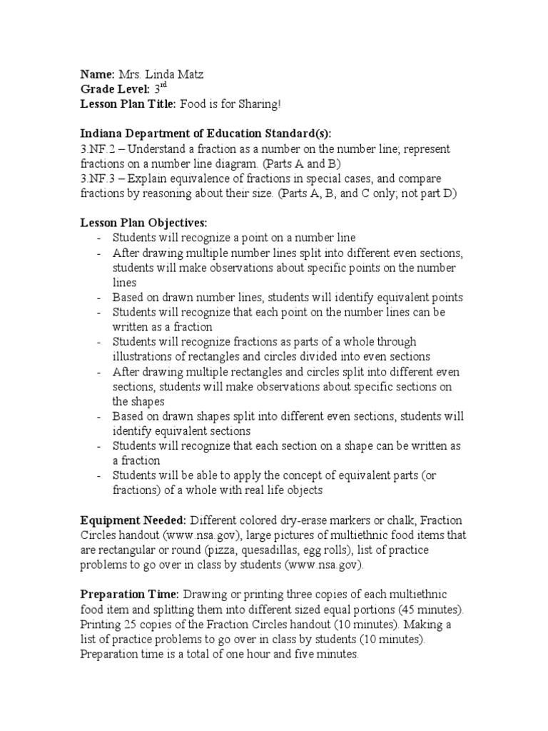 lesson plan food is for sharing fraction mathematics lesson plan