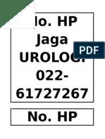 No HP Jaga Urologi