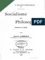 Antonio LABRIOLA - Socialisme et philosophie. Léttres a G. Sorel