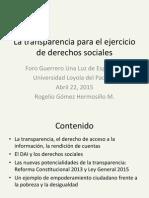 Transparencia Para El Ejercicio de Derechos Sociales