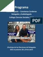 Programa Delegados Ciencias Sociales 2013, Matías Cepeda y Constanza Cárdenas.