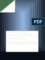 Evaluacion de Impacto Ambiental y Criterios de Sustentavilidad de Tarea Quimica