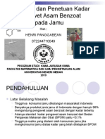 Identifikasi Dan Penetuan Kadar Pengawet Asam Benzoat