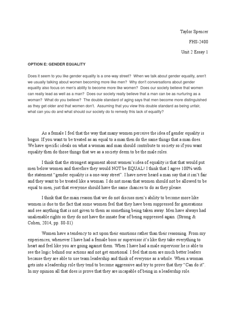 unit 2 essay 1 fhs 2400 taylor spencer | Gender Equality ...