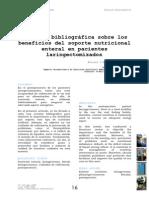 Revisión Bibliográfica Sobre Los Beneficios Del Soporte Nutricional Laringectomizados