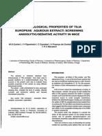 Pharmacological Properties of Tilia Europeæ Aqueous