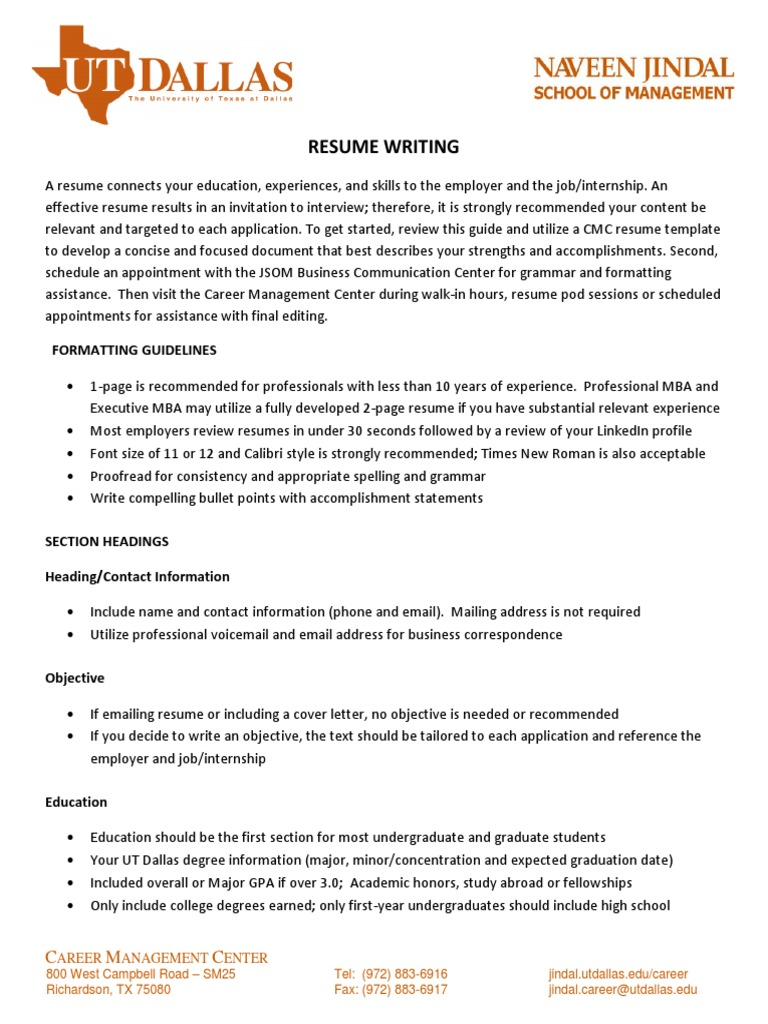 resume writing guidelines handout sas software résumé