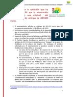 NOTA RESUMIDA Respuesta al panfleto del PP sobre la solicitud de 400.000 euros