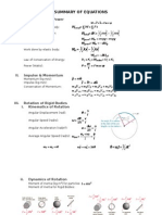 Summary of Equations