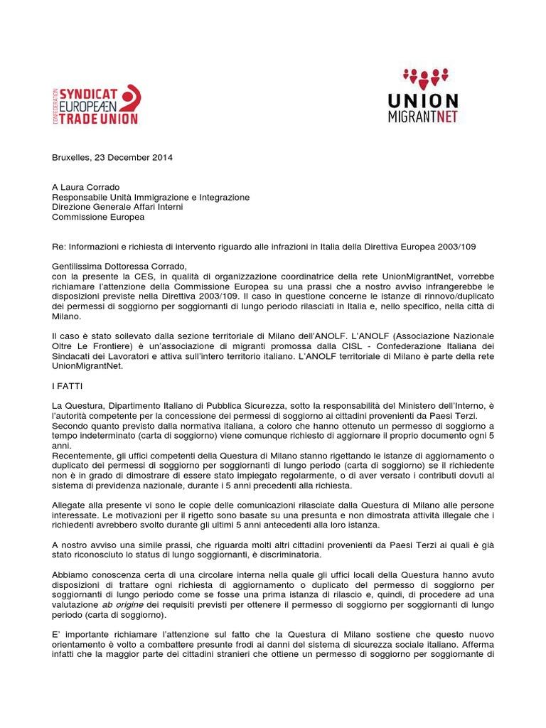 Beautiful Ministero Interno Carta Di Soggiorno Photos - Design ...