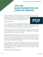 Listado de Los Principales Productos de Exportación en México