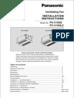 Panasonic FV11VHL2 Ventilating Fan Instructions