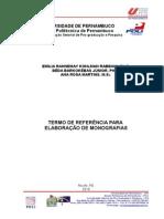 Termo de Referencia Para Projetos de Pesquisa e de Monografias