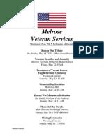Memorial Day 2015 Schedule of Events